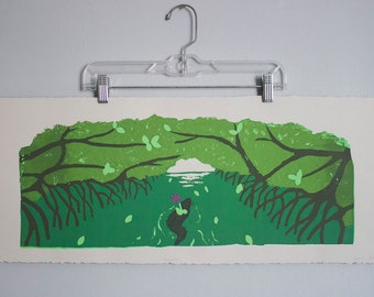 "Everglades Poster- 30x11 ""Leaving"" Limited Edition Screen Printed Fine Art Poster"