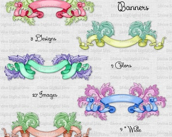 27 Colorful Ornate Scrolly Banners | Embellishments | Ribbons | Clipart Digital Instant Download
