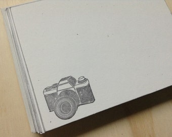 vintage inspired flat note cards and envelopes, retro camera stationery set, a2, set of 10.