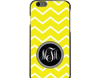 Hard Snap-On Case for Apple 5 5S SE 6 6S 7 Plus - CUSTOM Monogram - Any Colors - Yellow White Chevron Initial
