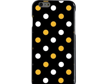 Hard Snap-On Case for Apple 5 5S SE 6 6S 7 Plus - CUSTOM Monogram - Any Colors - Missouri Mizzou Tigers Colors - Polka Dots Pattern