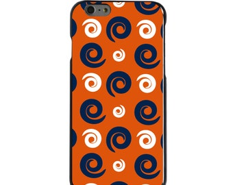 Hard Snap-On Case for Apple 5 5S SE 6 6S 7 Plus - CUSTOM Monogram - Any Colors - Auburn Tigers Colors - War Eagle - Swirls Pattern
