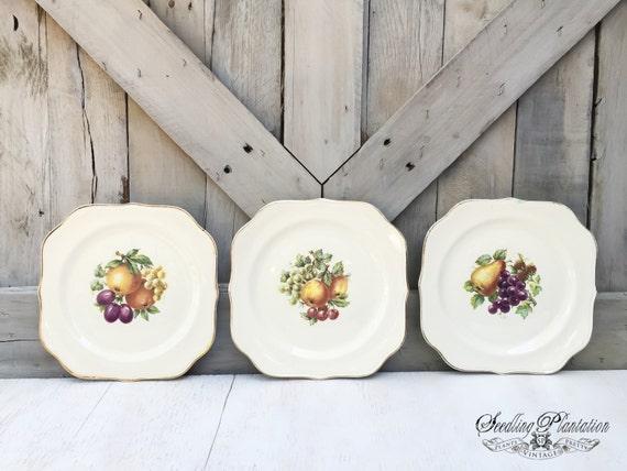 Vintage Porcelain Plates-Set of 3, Unique Fruit Designs with Gold Rim, French Counrty Shabby Chic Farmhouse Antique