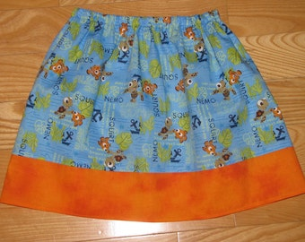 "Girls ""Nemo & Squirt"" inspired Everyday Skirt size 18mo.,2T,3T,4T,5T,6,7"