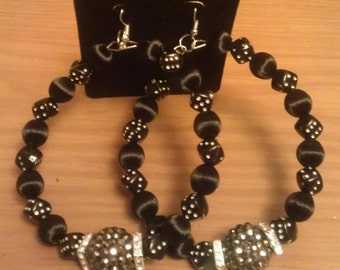 Basketball wives inspired black and silver earring