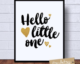 Nursery art print, Kids decor print, Gold print, Hello Little One, Monochrome kids print, Modern nursery decor, nursery print, kids wall art