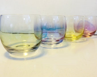 Roly Poly Set 4 Rainbow Colored Large Roly Poly Glasses - Vintage Set Pastel Iridescent Clear Glasses - Mad Men Era Glasses 2 Sets Available
