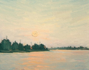 Oil on canvas sunset, seascape, reflection, moon rise, original painting, by Francesco Sessa