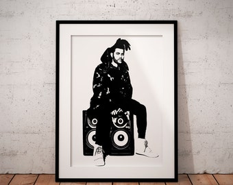 The weeknd print, music band poster, music wall art