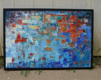 "Levent Deparis Impressionist Abstract Painting ""Oceanheat"" 24x36 oil On canvas with Frame"