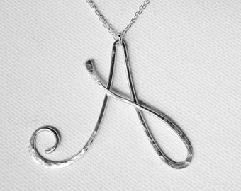 Letter Necklace Silver Letter A Necklace Personalized Necklace Silver Initial A Necklace Hammered Letter Necklace Initial A Pendant