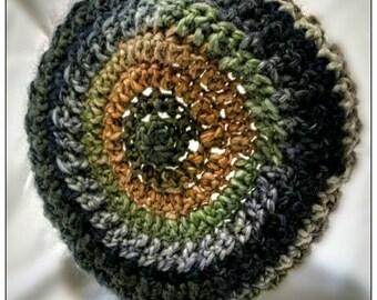 Handmade crochet wool beret