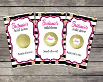 Scratch Off Game Cards (10 card ct.) - Bridal Shower, Birthday, Baby Shower Party Favor Games Gold Glitter