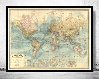 Vintage World Map Atlas 1904 French edition - fine reproduction