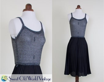 Vintage 70s Black Metallic Disco  Dress    1970s    Sheer Silver Metallic Tank Top  Bodice    Pleated Black Skirt    Small, Size 8