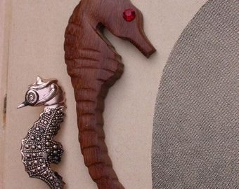 French vintage wooden sea horse pendant brooch  wood  sea horse hand made brooch star red crystal eye