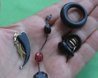 Lot Of Retro Black Dangles