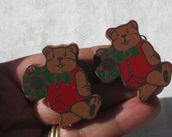 Vintage Teddy Bear Christmas Wood Clip On Earrings