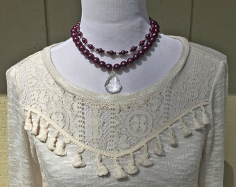 Annelise: Purple Pearl, Clear German Crystal, Necklace
