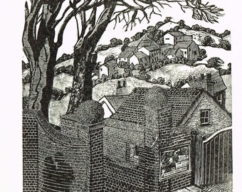 Wood engraving Blank card - printed by hand  titled :- 'The gatehouse tryst'