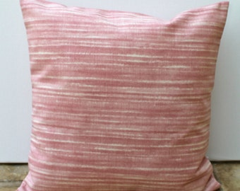 Pink cushion cover, pink pillow cover,  dusky pink and ivory stripe