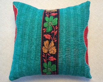 Kantha Throw Pillow 18 inch Turquoise, Navy Blue, Red and Green
