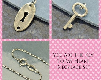 """Sterling Silver Necklace Set """"You Are The Key To My Heart""""- Love -Amor-Jewelry Set -Anniversary"""