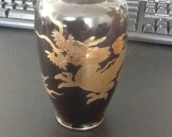Vintage black dragon mini vase