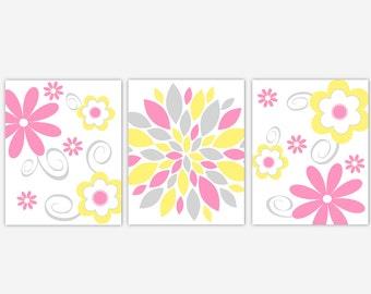 Baby Girl Nursery Decor Pink Yellow Mum Dahlia Flower Bursts Girl Room Wall Decor Floral Wall Art Baby Girl Nursery Decor Girl Floral Prints