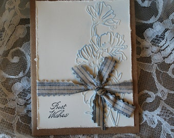 Handmade Greeting Card: Best Wishes, tied with blue and white ticking