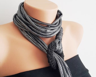 Bright Gray  Noodle Scarf  Infinty Scarf  Necklace n Neckwrap  Scarf Loop Scarf Circle Scarf Boho