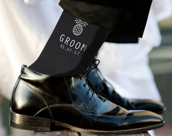 Nautical-Island Theme Personalized Wedding Socks, Grooms Socks, Groomsmen Socks, Brother of the Bride Sold by the Pair