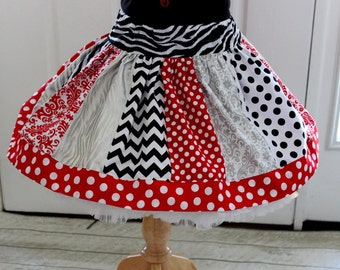 Valentine's Day skirt girls silver red and black valentines day outfit damask ,zebra, chevron polka dot valentines day clothing for girl