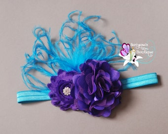 Turquoise Blue Purple Ostrich Feather Rhinestone Headband, Couture Headband, Baby Toddler Girl Woman - SB-035Os