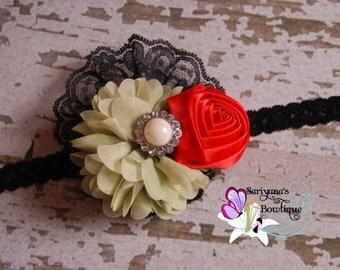 Green Red Black Chiffon Satin Flower Rose Pearl Rhinestone Lace Headband, Holiday Headband, Christmas, Baby Toddler Girl Woman - SB-