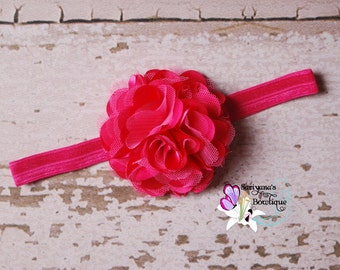 Hot Pink Satin Tulle Puff Flower Headband Clip, Flower Girl, Baby Girl Toddler Woman - SB-014HP