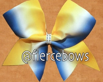 Yellow to Blue Ombre Cheer Bow