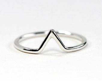 Tiny Peak Stacking Ring - Sterling Silver Ring - Sterling Silver Stacking Ring -Sterling Silver Band -Silver Stacking Ring - Stacking Rings