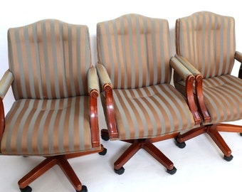 Vintage Set of 5 Councill Executive Arm Chairs on Casters name brand high quality