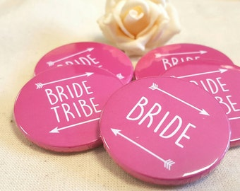 Heart Hen Do / Wedding / Team Bride / Bride Tribe Badge - Hot Pink or custom colour (A Set)