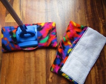 Reusable mop/duster sets in bright multi colored