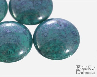 1 pc Turquoise Blue Teracota Czech Glass Round Cabochon 25 mm (10358)