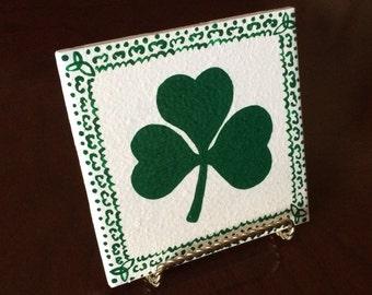 Hand Painted Shamrock Tile Coaster