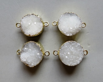 1pcs Round Druzy Pendant with Electroplating Gold Edge Connector- B1341