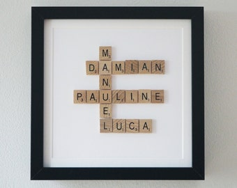 Framed Scrabble Family Tree, 5th year anniversary gift, wooden anniversary, 5 year wedding anniversary, wood anniversary 5 year
