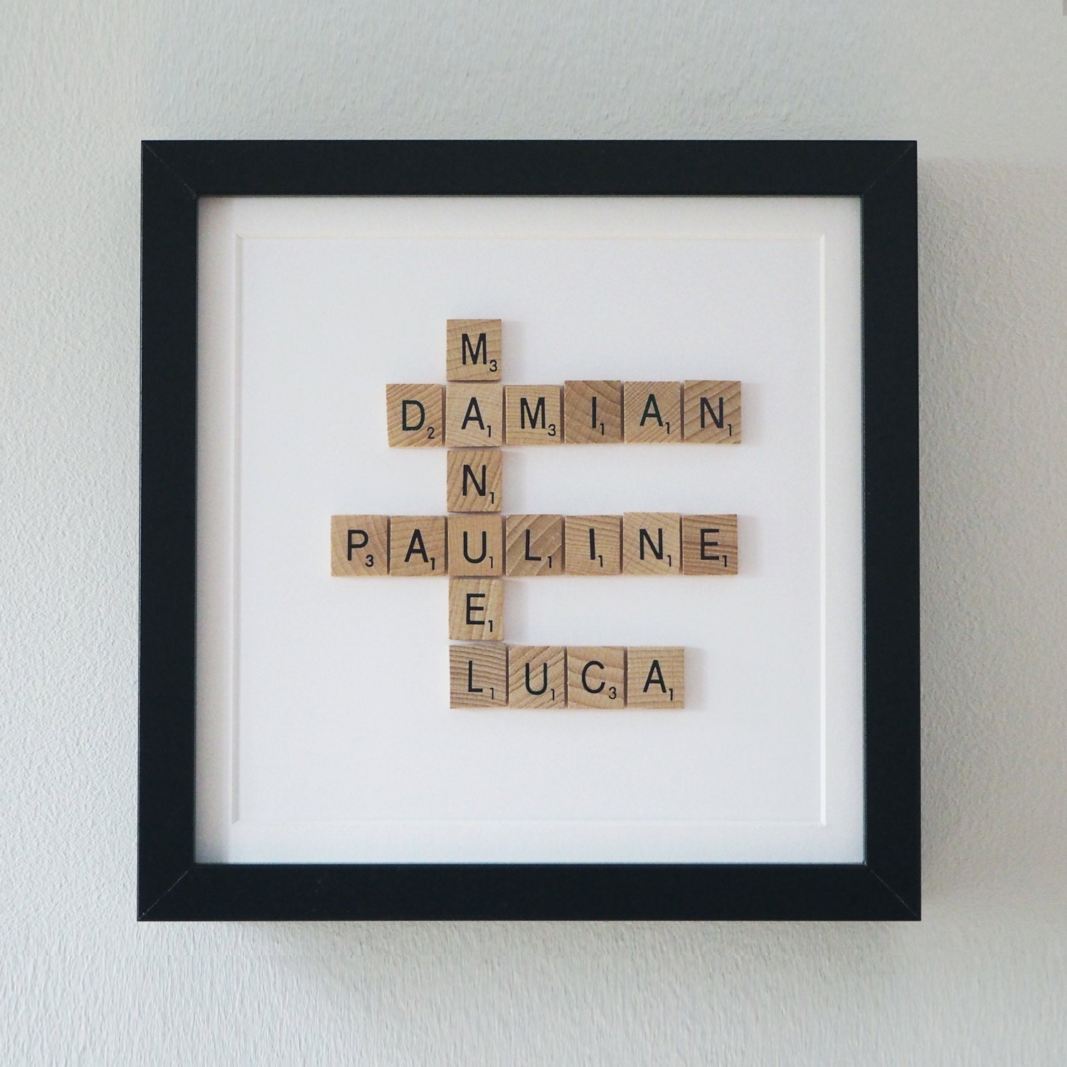 Wood Wedding Gift Ideas: Framed Scrabble Family Tree 5th Year Anniversary Gift Wooden