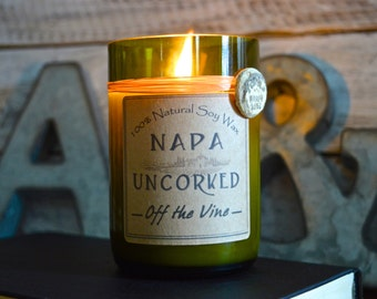 Non wine scented Candles made out of recycled wine bottles