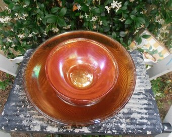 set of orange bowls  antiques glass