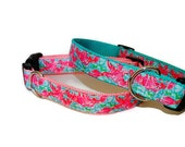 Lilly Pulitzer Inspired Lobster Roll Dog Collars with Leash Option