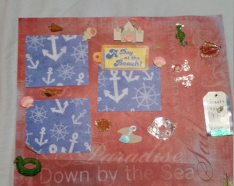 premade  scrapbook page down  by the  sea
